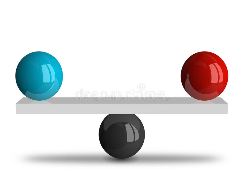 Balance with two spheres royalty free illustration