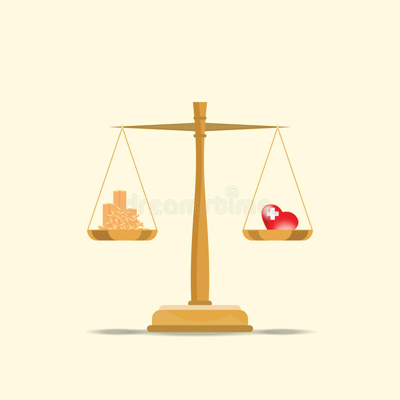 Balance your health and make money for life time with scales. Balance your health and make money for life time with scales, health and time conceptual flat royalty free illustration
