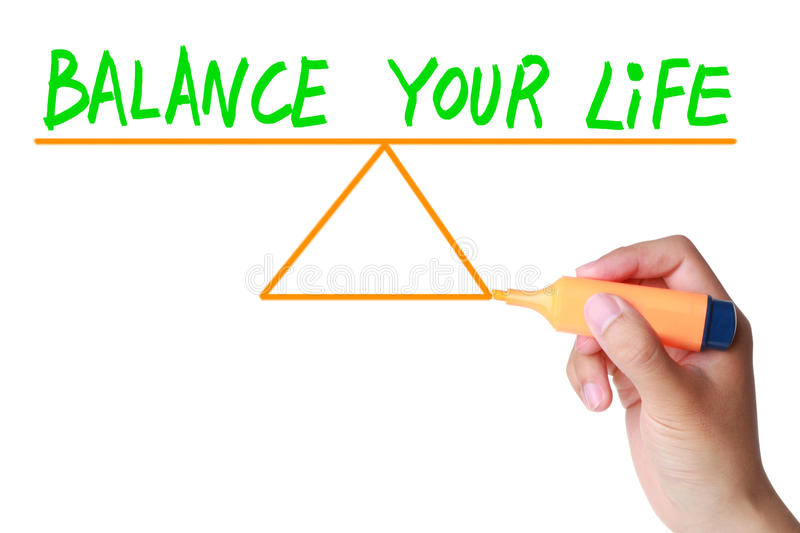 Balance your life. Between career, family, friends and personal hobbies stock images