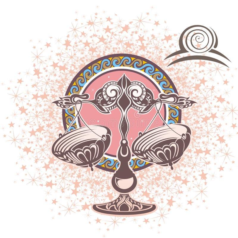 Balance zodiaque des symboles douze de signe de conception de dessin-modèles divers illustration libre de droits