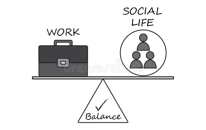 Balance zwischen Arbeit und Soziallebens-Diagramm stock abbildung