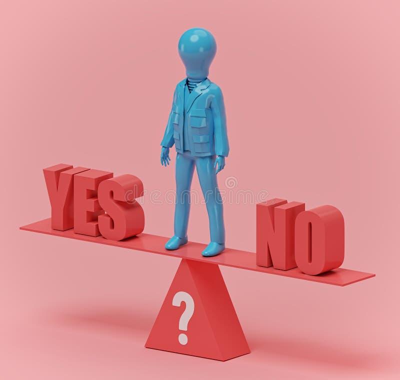 Balance zwischen ja und nicht, Wiedergabe 3d lizenzfreie abbildung