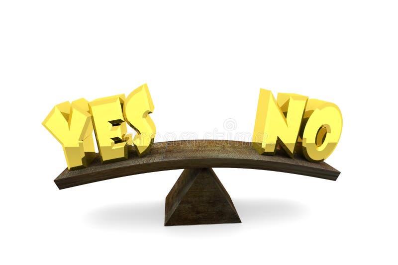 Balance zwischen Zustimmung und Ablehnung stock abbildung
