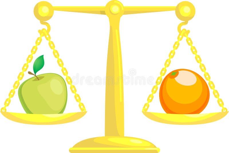 Balanceando o comparando manzanas   ilustración del vector