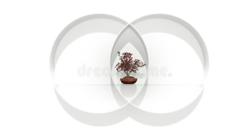 Balanced. Balance equal divided circle bonsai tree plant shelf glass red green white wall stock illustration