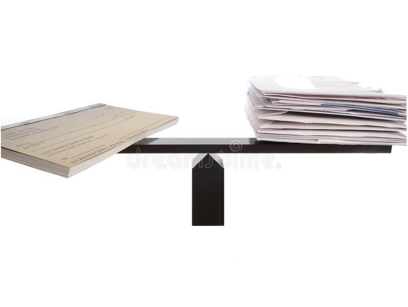 Balanced Checkbook Bills stock image