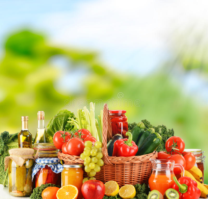 Balanced diet based on raw organic vegetables stock photos