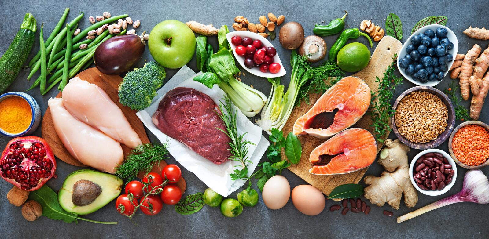 Balanced diet food background royalty free stock image