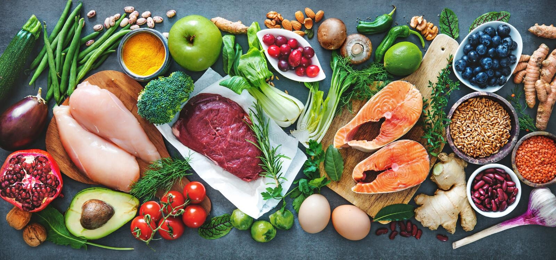 Balanced diet food background stock photos