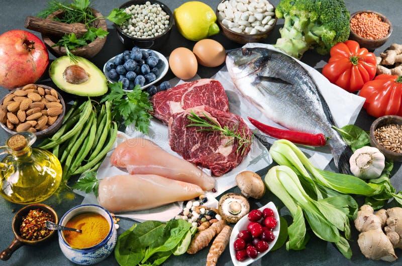 Balanced diet food background stock photo