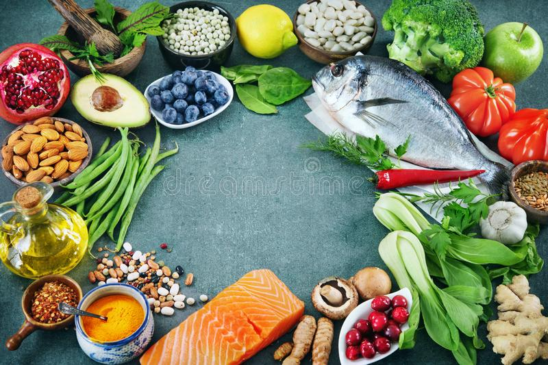 Balanced diet food background stock photography