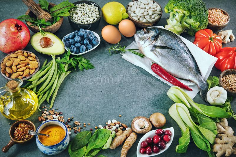Balanced diet food background royalty free stock photos