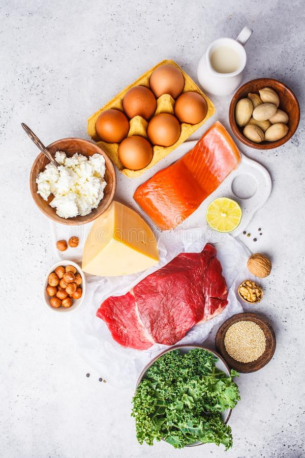 Balanced diet food background. Protein foods: fish, meat, eggs royalty free stock photo