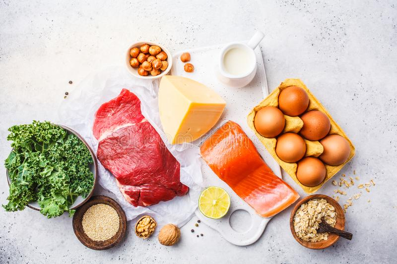 Balanced diet food background. Protein foods: fish, meat, eggs royalty free stock photos