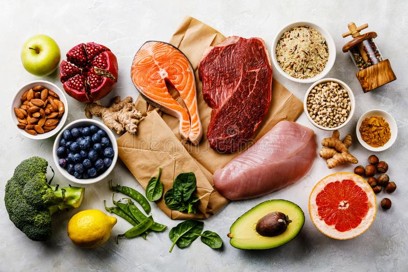 Balanced diet Healthy food Clean eating selection. Balanced diet Organic Healthy food Clean eating selection Including Certain Protein Prevents Cancer: fish royalty free stock image