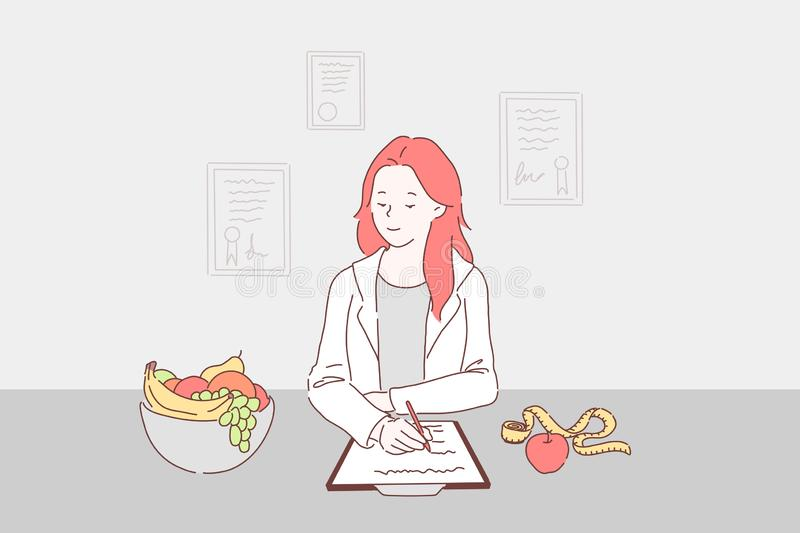 Balanced diet for weight control concept stock illustration