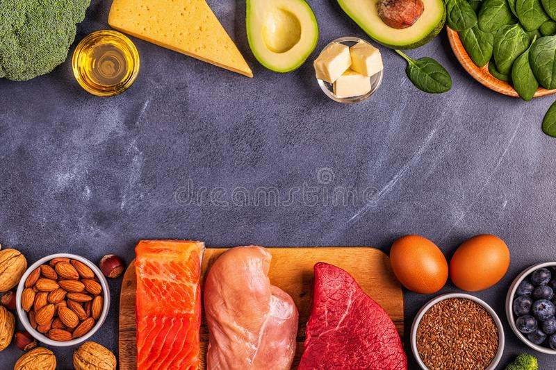 Balanced low carb, high good fat , healthy food. Ketogenic diet concept. Balanced low carb, high good fat , healthy food stock image