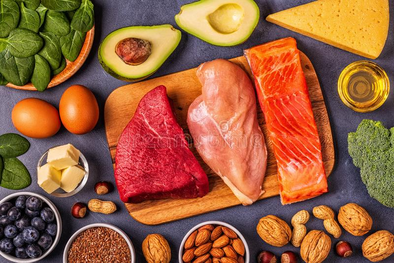 Balanced low carb, high good fat , healthy food. Ketogenic diet concept. Balanced low carb, high good fat , healthy food stock images