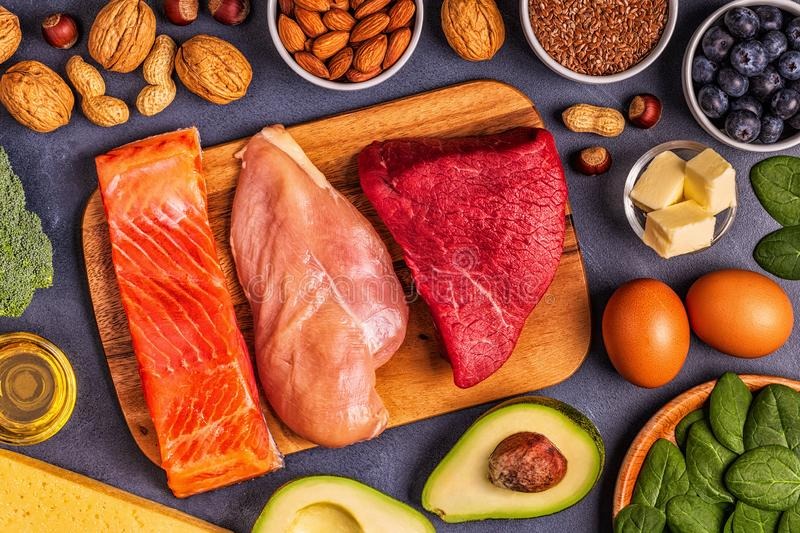 Balanced low carb, high good fat , healthy food. Ketogenic diet concept. Balanced low carb, high good fat , healthy food royalty free stock photo