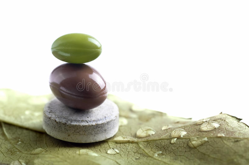 Balanced natural vitamines on a leaf. Balanced vitamines on a leaf with drops stock photos