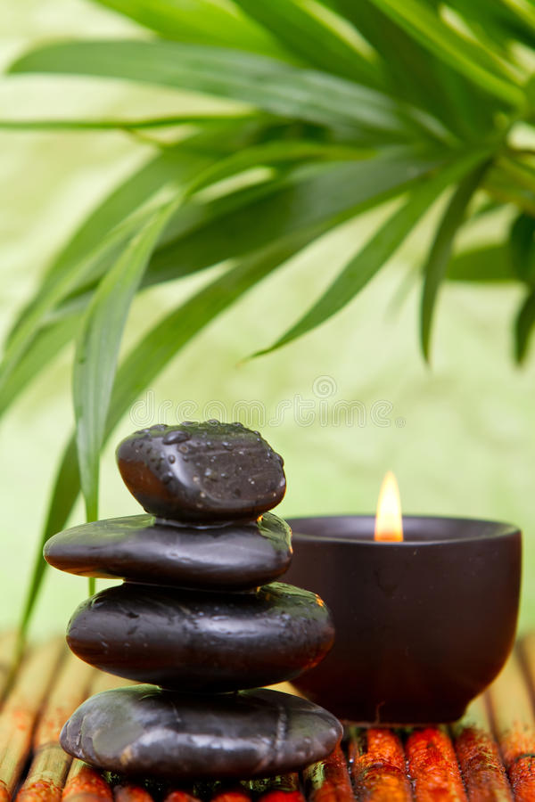 Download Balanced Pebbles And Aromatherapy Candle Stock Photo - Image: 14941866