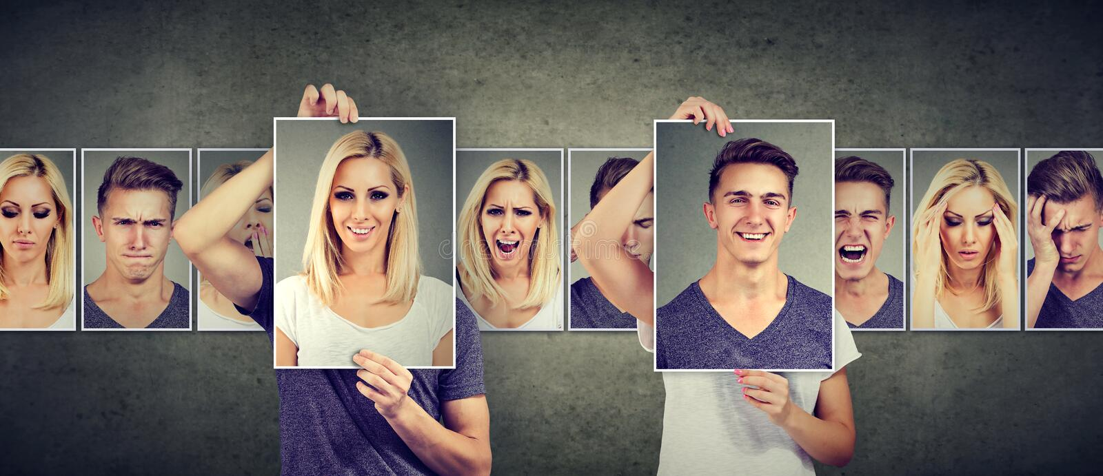 Balanced relationship. Masked woman and man expressing different emotions exchanging faces royalty free stock photos
