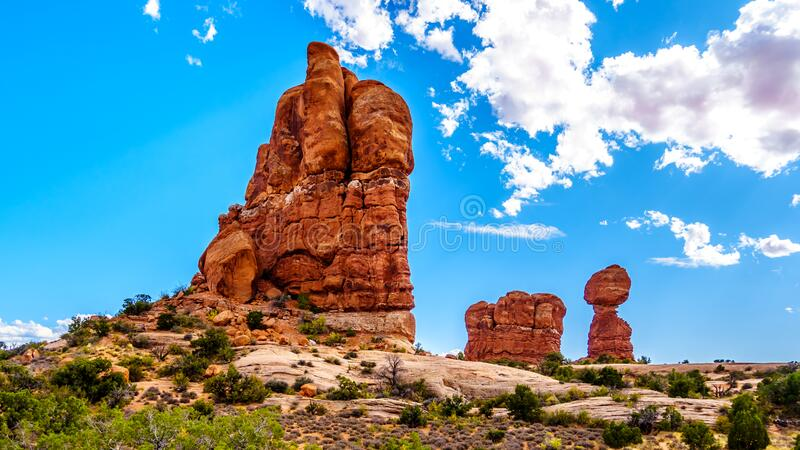 Balanced Rock and other Sandstone Formations along the Arches Scenic Drive in Arches National Park royalty free stock photography