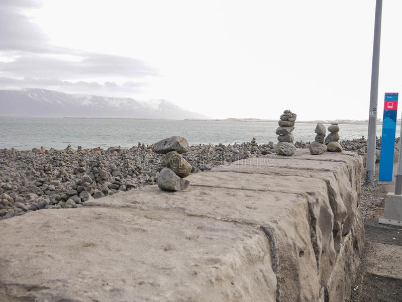 Balanced rock on the shore of Reykjavík city. Iceland, APR 6: Balanced rock on the shore of Reykjavík city on APR 6, 2018 at  Iceland stock images