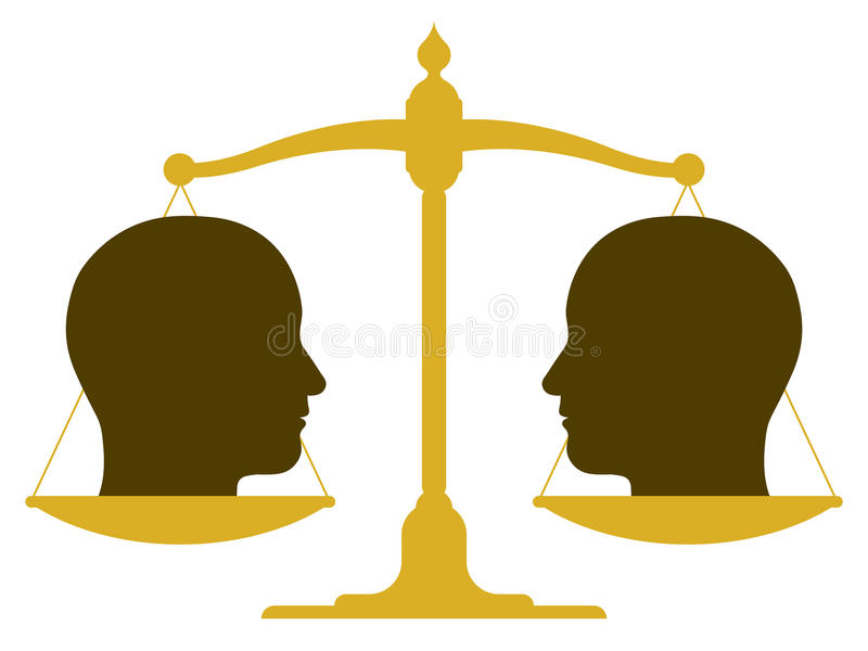 Balanced scale with two heads stock illustration