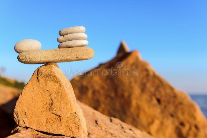 Balanced stack of pebbles royalty free stock photos