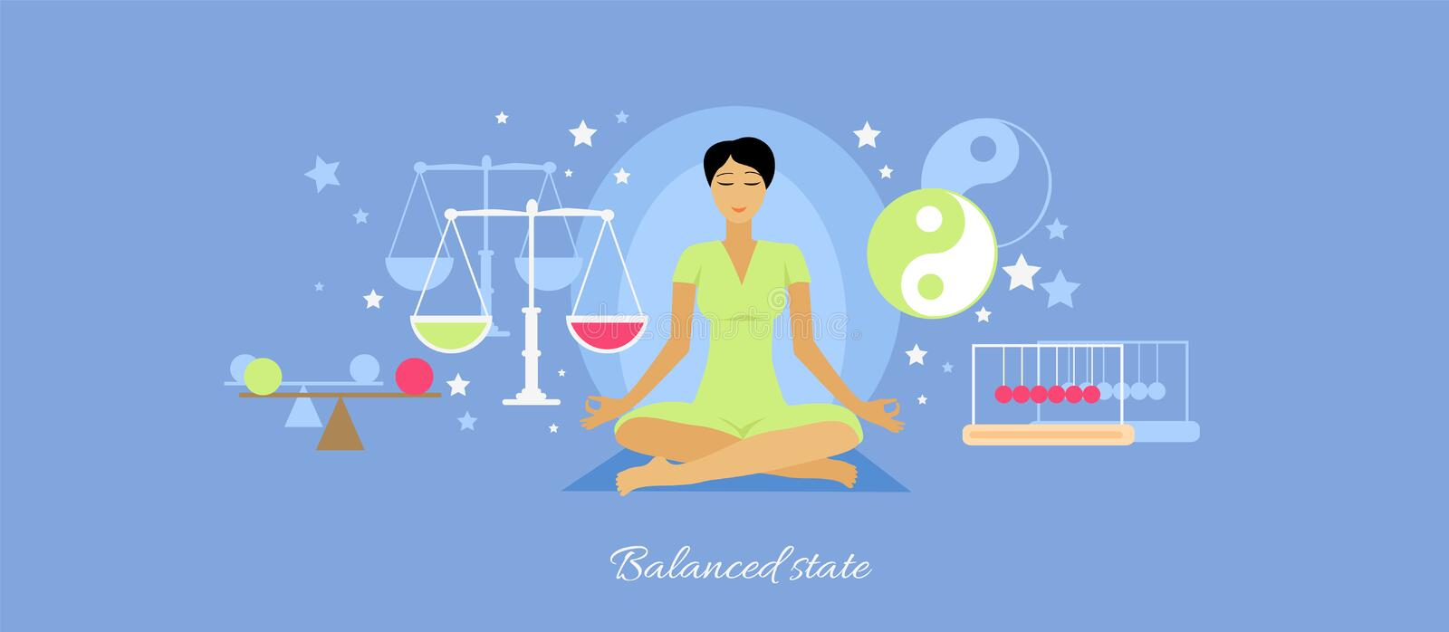 Balanced State Woman Icon Flat Isolated. Person meditation yoga, healthcare and mood, expression feeling mental, pose relax, thinking and harmony, lifestyle royalty free illustration
