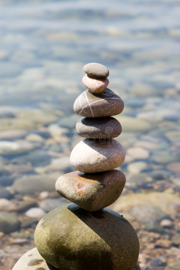 Balanced stones. On the sea royalty free stock images