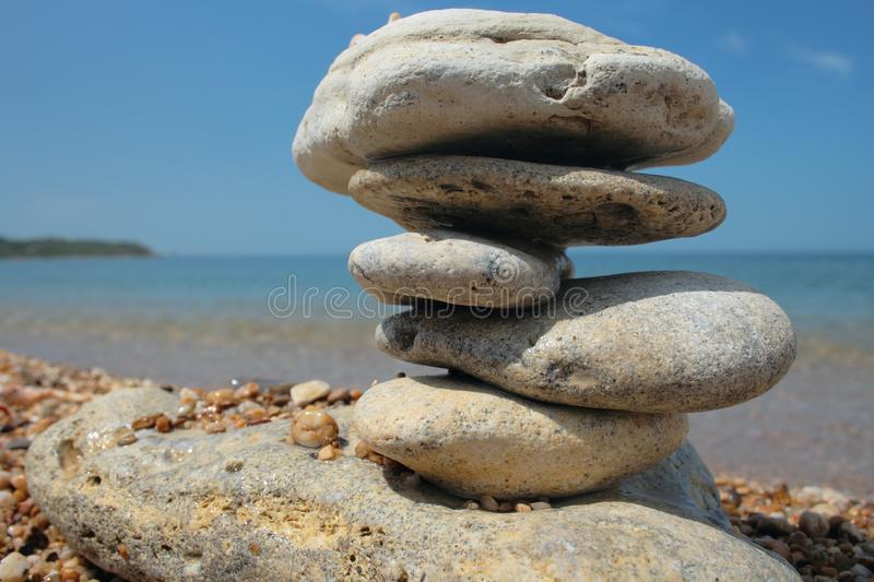 Download Balanced stones on beach stock image. Image of simple - 8414017