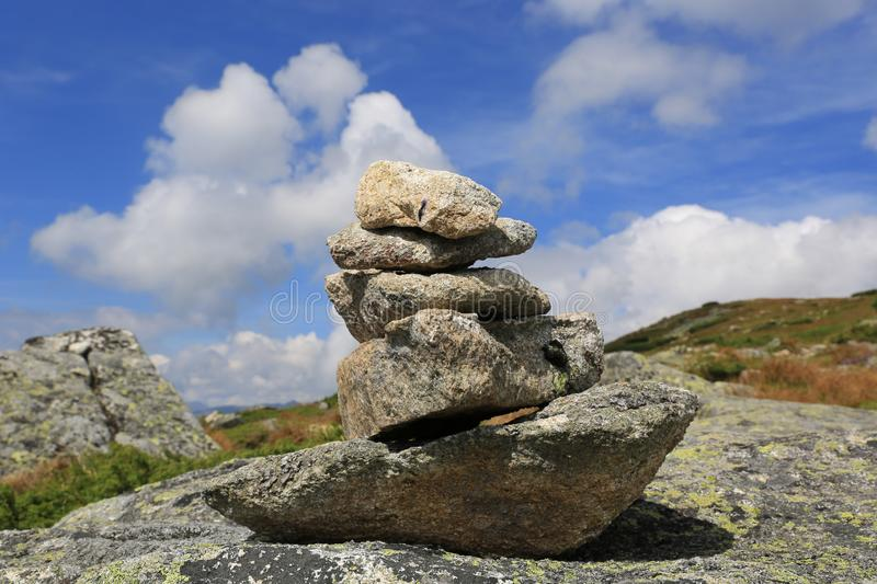 Balanced stones in mountains royalty free stock images