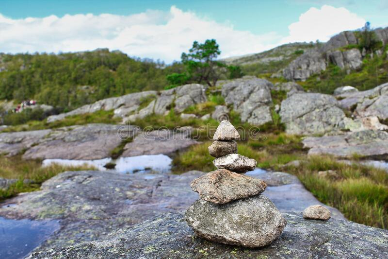 Balanced stones in the nature of Norway. On a rainy day. CANON EOS 1300D royalty free stock photography