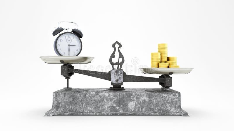 Balancen-Skala mit Uhr-und Goldmünzen, Geld ist mehr wert, als Zeitkonzept 3D, Illustration 3D übertragen vektor abbildung