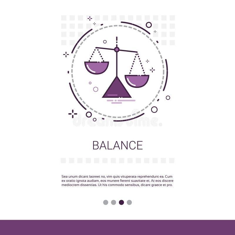Balancen-Skala-wirtschaftliche Geschäfts-Netz-Fahne mit Kopien-Raum stock abbildung