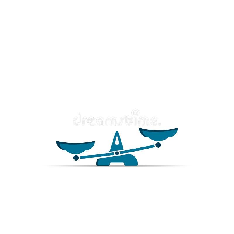 Balancenikone Skalen färben modernes Zeichen lokalisiert auf Weiß lizenzfreie abbildung