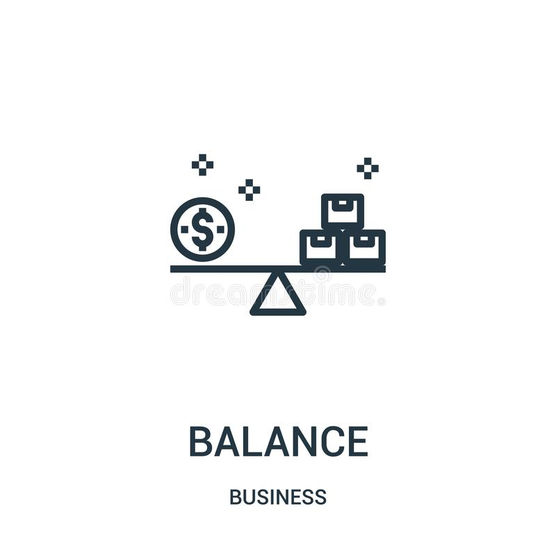 Balancenikonenvektor von der Geschäftssammlung Dünnes Leitungssymmetrieentwurfsikonen-Vektorillustration Lineares Symbol für Gebr stock abbildung