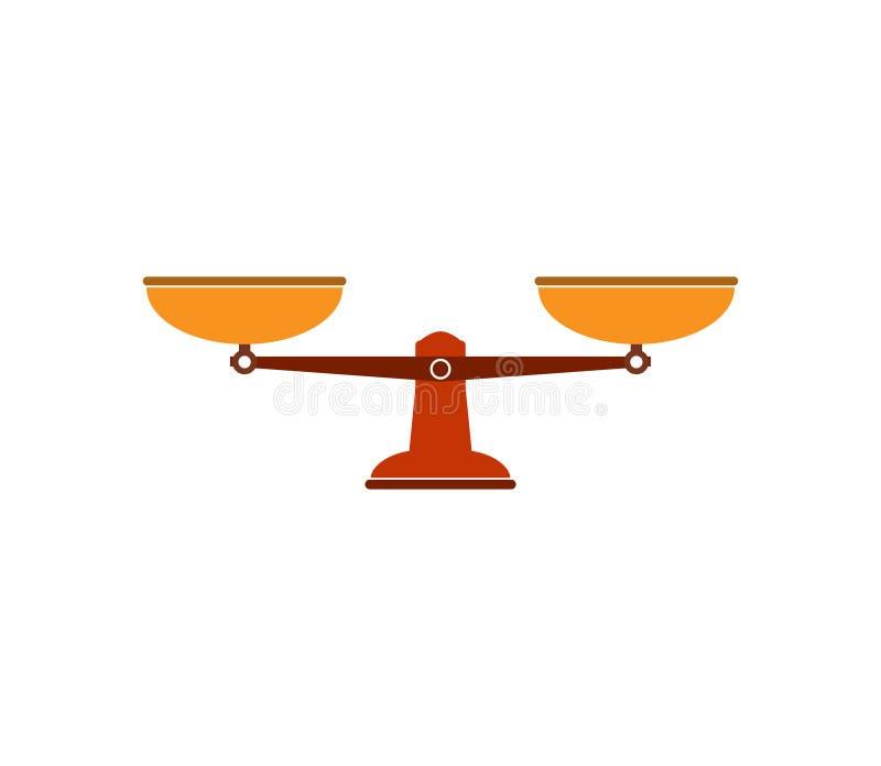 Balancenskalaikone Vektorillustration, flaches Design lizenzfreie abbildung