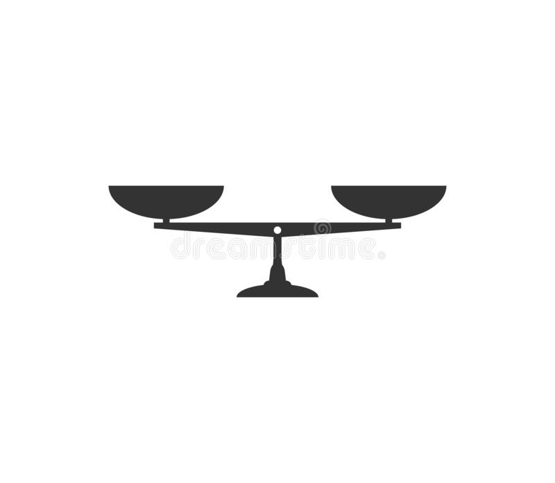 Balancenskalaikone Vektorillustration, flaches Design stock abbildung