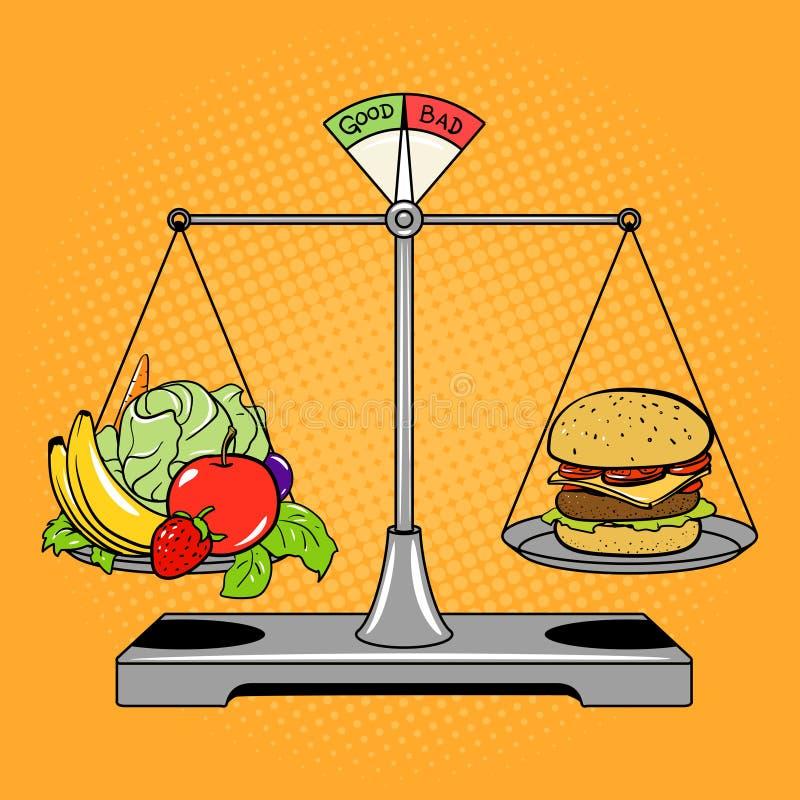 Balancenskalen mit Lebensmittelcomic-buch-Artvektor lizenzfreie abbildung