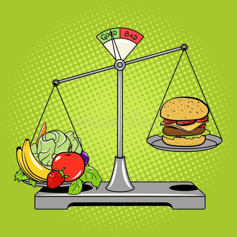 Balancenskalen mit Lebensmittelcomic-buch-Artvektor vektor abbildung
