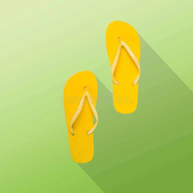 Balanceos amarillos en un fondo verde Backgro plano del verano de la endecha ilustración del vector