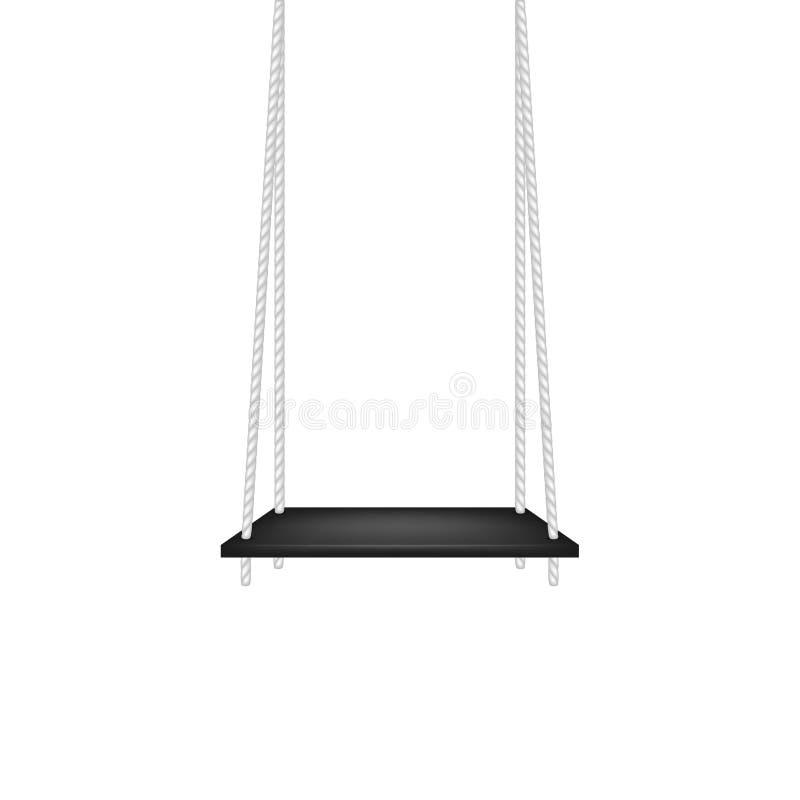 Balancez dans la conception noire accrochant sur la corde blanche illustration de vecteur