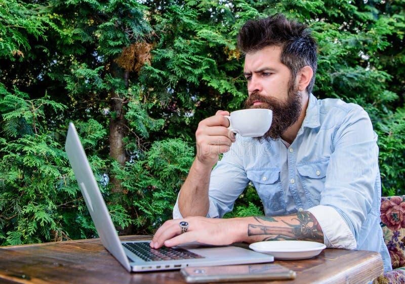 Balancieren zwischen Arbeit und Vergnügen Trinkender Tee des Hippies und Anwendung des ComputerArbeitsplatzes im Freien Bärtiges  lizenzfreies stockfoto