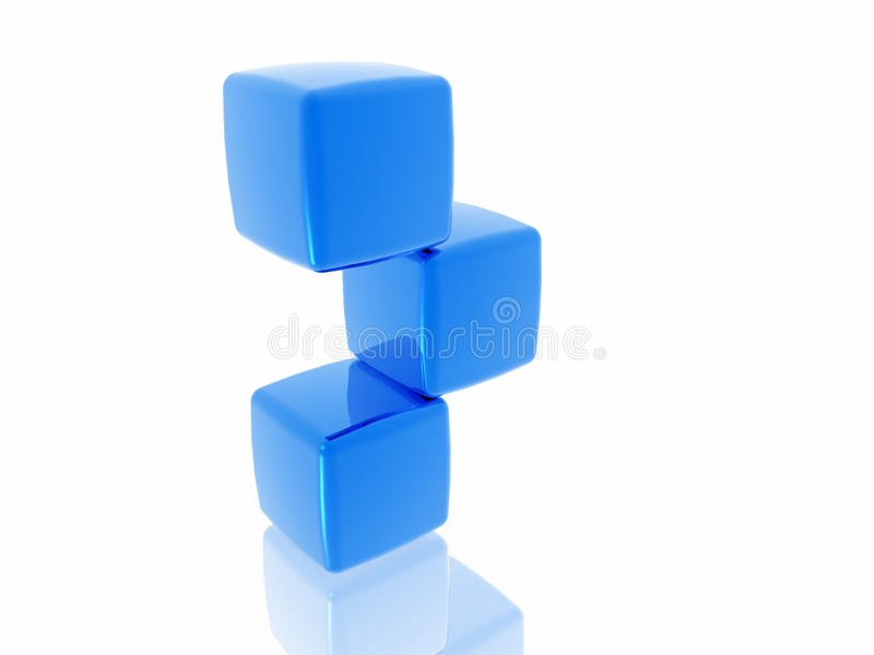Balancierende blaue Würfel stockfotografie