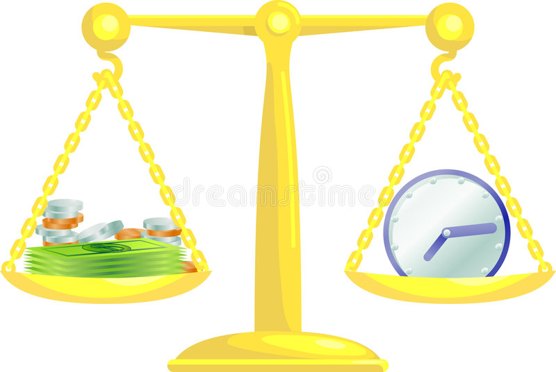 Balancierende Zeit und Geld lizenzfreie abbildung