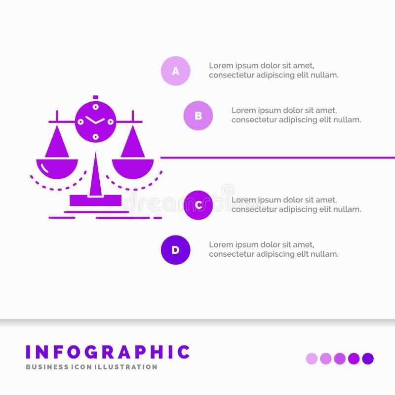 Balanciert, Management, Maß, Spielstandskarte, Strategie Infographics-Schablone für Website und Darstellung Purpurrote Ikone des  stock abbildung