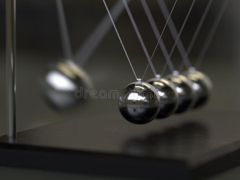 Balancing Balls Newton`s Cradle. 3d rendering,conceptual image royalty free illustration